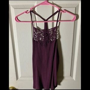 halter tank with lace detail